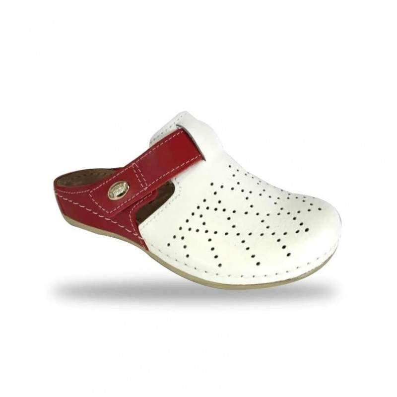 Női papucs - kényelmi klumpa D301 Bianco-Rosso